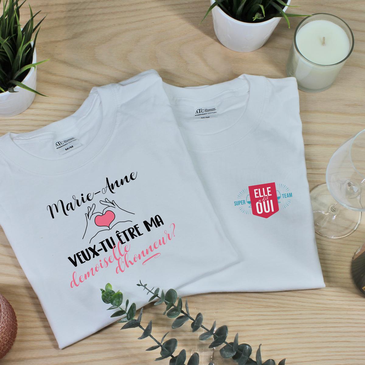 t-shirt personnalise - future mariee et demoiselle d'honneur