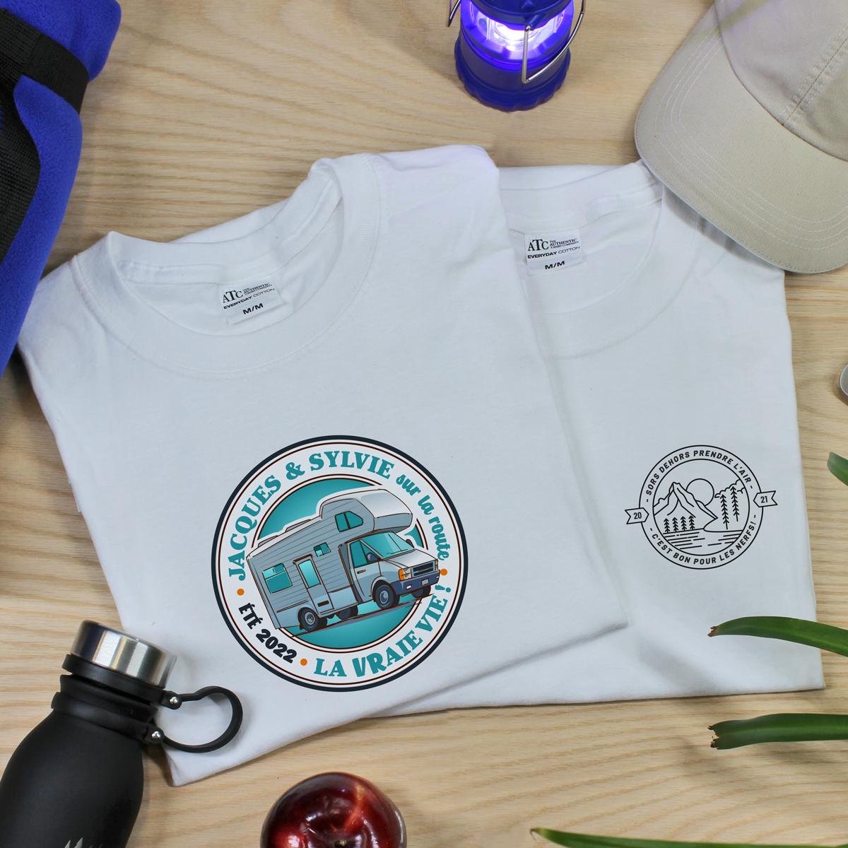 t-shirt en coton personnalisé chasse, camping et plein air