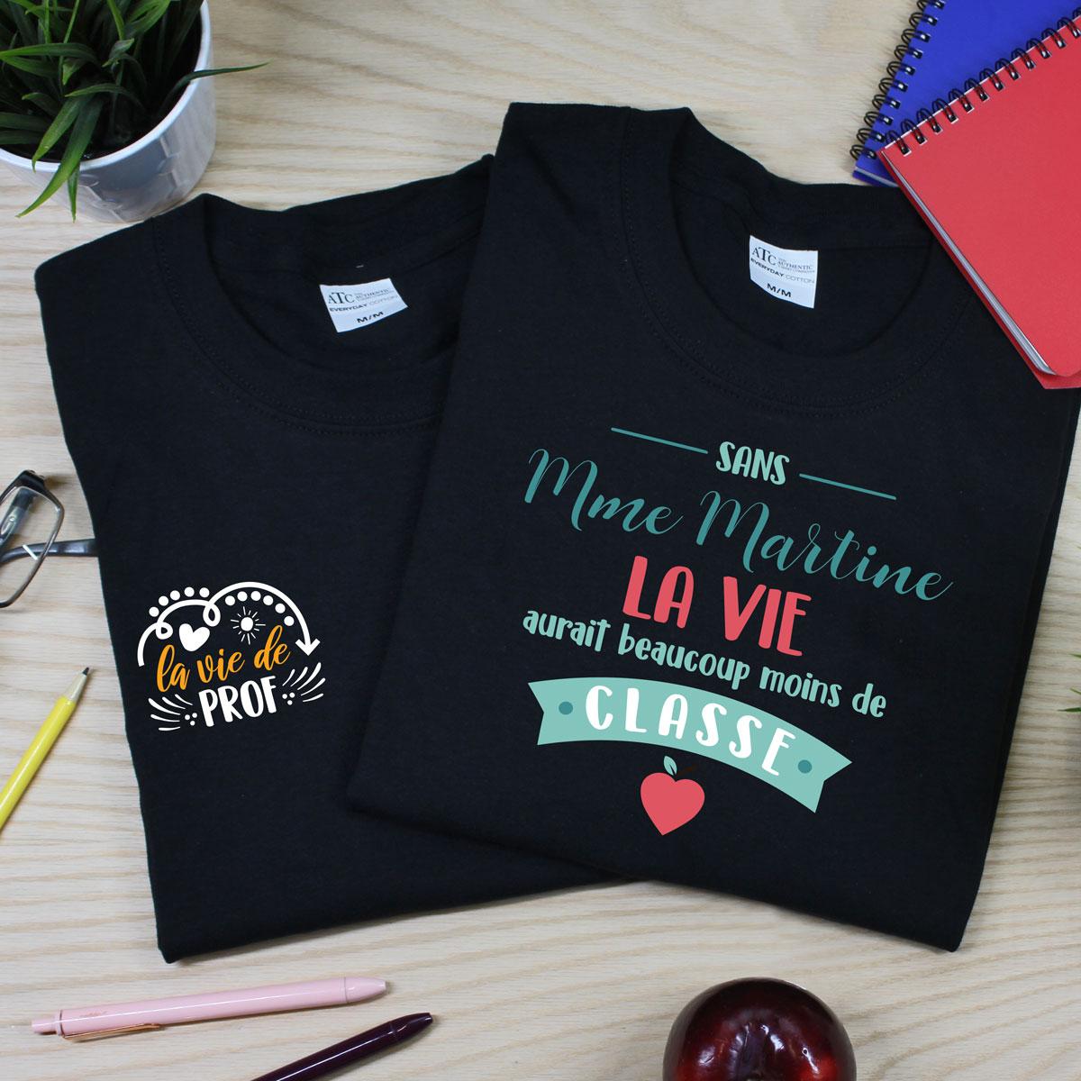 t-shirt noir en coton pour professeur(e) - enseignant(e)