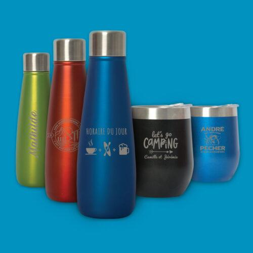 Uni-d tasses et bouteilles gravées thématique plein air, camping, pêche et plus
