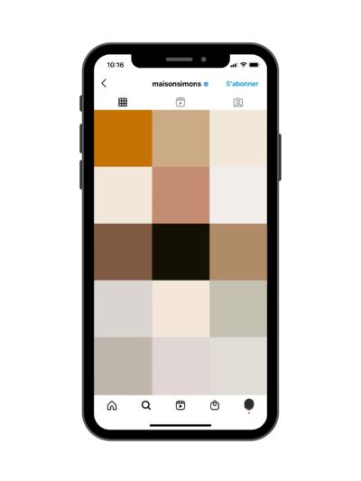 Couleurs dominantes Instagram - Exemple de Simons