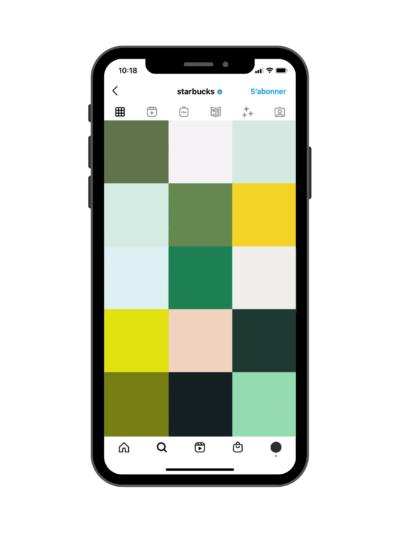 Couleurs dominantes Instagram - Exemple de Starbucks