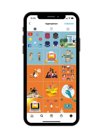 Exemple de feed Instagram avec sections - Exemple de Léger Opinion