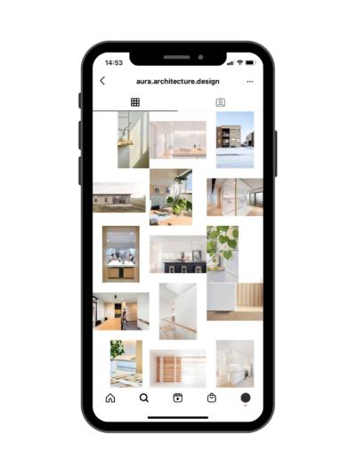 Exemple de feed Instagram avec collage - Exemple d'Aura architecture design