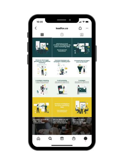 Exemple de feed Instagram avec lignes - Exemple de Leadfox