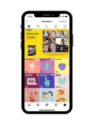 Exemple de feed Instagram avec bloc - Exemple de Mailchimp